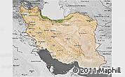 Satellite 3D Map of Iran, desaturated