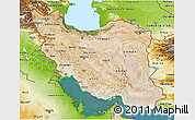 Satellite 3D Map of Iran, physical outside, satellite sea
