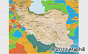 Satellite 3D Map of Iran, political outside, satellite sea