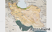 Satellite 3D Map of Iran, semi-desaturated