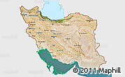 Satellite 3D Map of Iran, single color outside