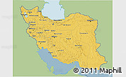 Savanna Style 3D Map of Iran, single color outside
