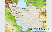 Shaded Relief 3D Map of Iran, physical outside