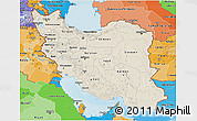 Shaded Relief 3D Map of Iran, political shades outside, shaded relief sea