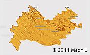Political 3D Map of Bakhtaran, cropped outside