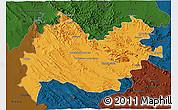 Political 3D Map of Bakhtaran, darken