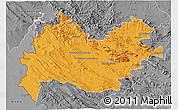 Political 3D Map of Bakhtaran, desaturated