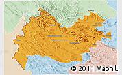 Political 3D Map of Bakhtaran, lighten