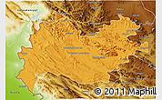 Political 3D Map of Bakhtaran, physical outside