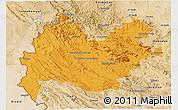 Political 3D Map of Bakhtaran, satellite outside