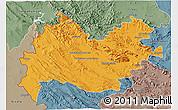 Political 3D Map of Bakhtaran, semi-desaturated