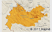 Political 3D Map of Bakhtaran, shaded relief outside