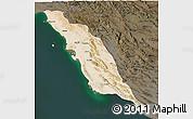 Satellite 3D Map of Bushehr, darken