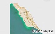 Satellite 3D Map of Bushehr, single color outside