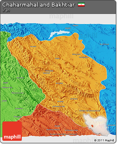 Political 3D Map of Chaharmahal and Bakhtiar