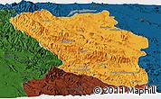 Political Panoramic Map of Chaharmahal and Bakhtiar, darken