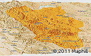 Political Panoramic Map of Chaharmahal and Bakhtiar, satellite outside