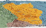 Political Panoramic Map of Chaharmahal and Bakhtiar, semi-desaturated
