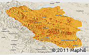 Political Panoramic Map of Chaharmahal and Bakhtiar, shaded relief outside
