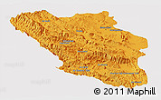 Political Panoramic Map of Chaharmahal and Bakhtiar, single color outside