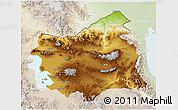 Physical 3D Map of East Azarbayejan, lighten