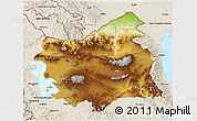Physical 3D Map of East Azarbayejan, shaded relief outside