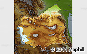 Physical Map of East Azarbayejan, darken