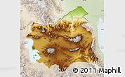 Physical Map of East Azarbayejan, lighten