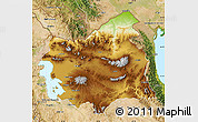 Physical Map of East Azarbayejan, satellite outside