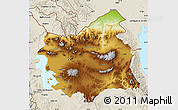 Physical Map of East Azarbayejan, shaded relief outside