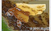 Physical 3D Map of Esfahan, darken