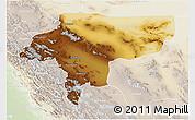 Physical 3D Map of Esfahan, lighten
