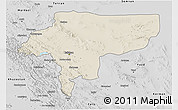 Shaded Relief 3D Map of Esfahan, desaturated