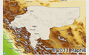 Shaded Relief 3D Map of Esfahan, physical outside