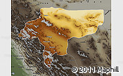Physical Map of Esfahan, darken, semi-desaturated