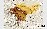 Physical Map of Esfahan, shaded relief outside