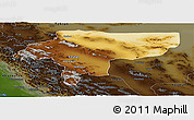 Physical Panoramic Map of Esfahan, darken
