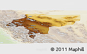 Physical Panoramic Map of Esfahan, lighten