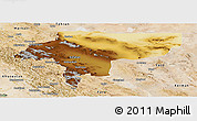 Physical Panoramic Map of Esfahan, satellite outside