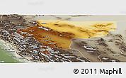 Physical Panoramic Map of Esfahan, semi-desaturated