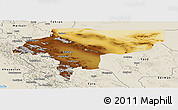 Physical Panoramic Map of Esfahan, shaded relief outside