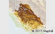 Physical 3D Map of Fars, lighten