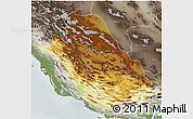 Physical 3D Map of Fars, semi-desaturated
