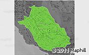 Political 3D Map of Fars, darken, desaturated