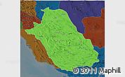 Political 3D Map of Fars, darken