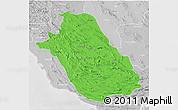 Political 3D Map of Fars, lighten, desaturated