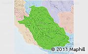 Political 3D Map of Fars, lighten