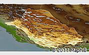 Physical Panoramic Map of Fars, darken