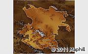 Physical 3D Map of Hamadan, darken