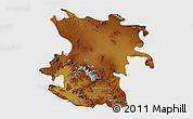 Physical 3D Map of Hamadan, single color outside